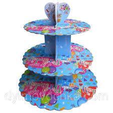Стенд трёхъярусный картонный круглый для капкейков лазурного цвета (шт) 0313