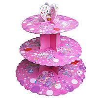 Стенд трёхъярусный картонный круглый для капкейков лилового цвета (шт) 0311