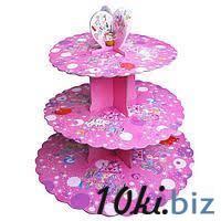 Стенд трёхъярусный картонный круглый для капкейков лилового цвета (шт) 0311 купить в Херсоне - Книги