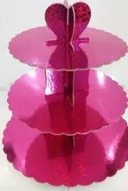 Стенд трёхъярусный картонный круглый для капкейков малинового цвета с голограммой (шт) 0302