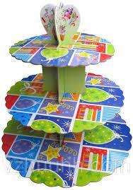 Стенд трёхъярусный картонный круглый для капкейков разного цвета (шт) 0315