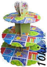 Стенд трёхъярусный картонный круглый для капкейков разного цвета (шт) 0315 купить в Херсоне - Книги