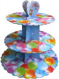 Стенд трёхъярусный картонный круглый для капкейков разноцветные шарики (шт) 0308