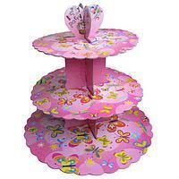 Стенд трёхъярусный картонный круглый для капкейков розового цвета (шт) 0307