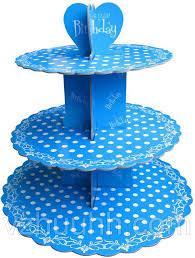 Стенд трёхъярусный картонный круглый для капкейков синего цвета с горошком (шт) 0322