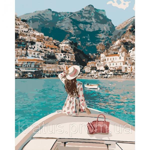 Фото Картины на холсте по номерам, Романтические картины. Люди KH 4614 Путешествие на яхте Роспись по номерам на холсте 50х40см в коробке