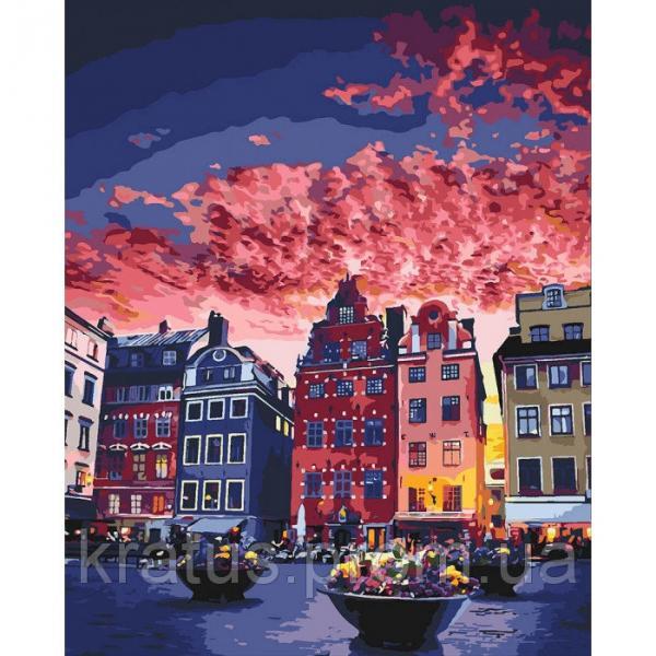Фото Картины на холсте по номерам, Городской пейзаж KHO 3558 Каникулы в Стокгольме Роспись по номерам на холсте (без коробки) 50х40см