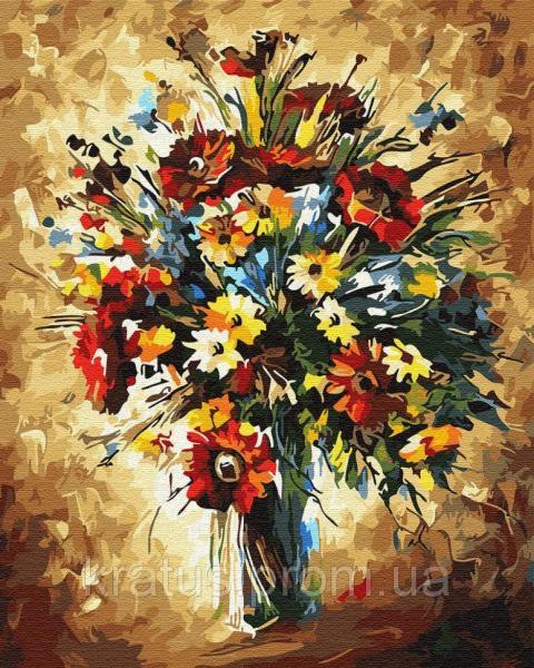 Фото Картины на холсте по номерам, Букеты, Цветы, Натюрморты GX 30329 Полевые цветы Картина по номерам 40х50см без коробки, в пакете