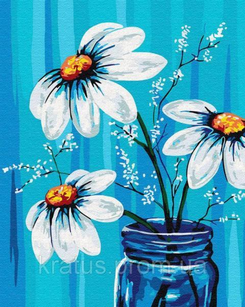 Фото Картины на холсте по номерам, Букеты, Цветы, Натюрморты GX 30453 Ромашки в вазе Картина по номерам 40х50см без коробки, в пакете
