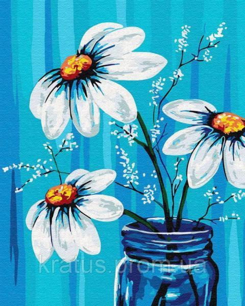 Фото Картины на холсте по номерам, Букеты, Цветы, Натюрморты KGX 30453 Ромашки в вазе Картина по номерам 40х50см