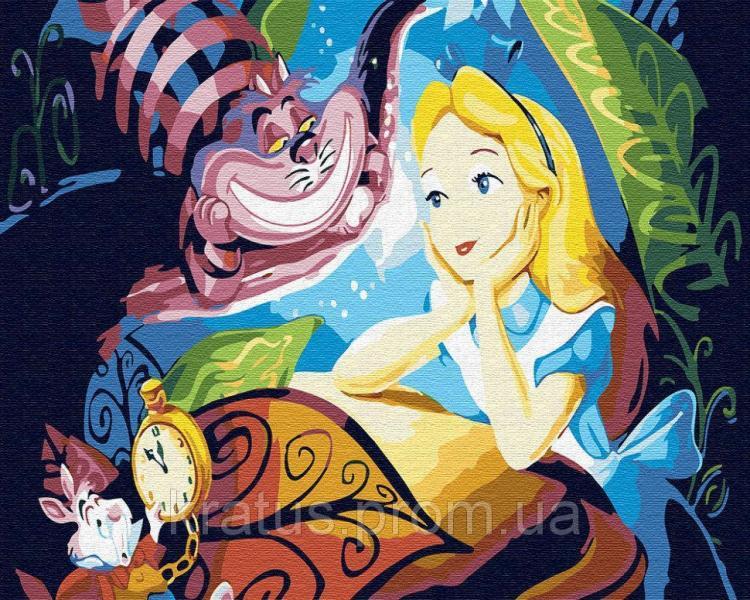 Фото Конструкторы, Деревянные сборные модели, Животные, птицы, рыбы GX 30456 Алиса и Чеширский кот Картина по номерам 40х50см без коробки, в пакете