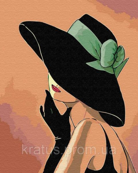 Фото Картины на холсте по номерам, Романтические картины. Люди KGX 30461 Дама в шляпе Картина по номерам 40х50см