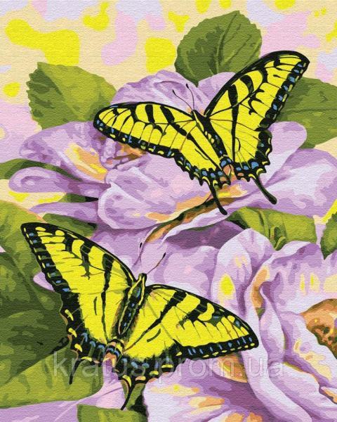Фото Конструкторы, Деревянные сборные модели, Животные, птицы, рыбы GX 30463 Нежные бабочки Картина по номерам 40х50см без коробки, в пакете