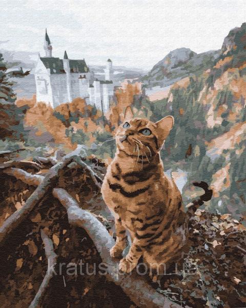 Фото  PGX 29712 Кот у замка Нойшванштайн Premium 40x50см