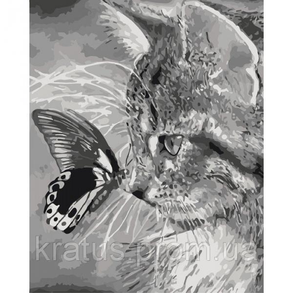 Фото Конструкторы, Деревянные сборные модели, Животные, птицы, рыбы KHO 2499 Котёнок и бабочка Роспись по номерам на холсте (без коробки) 50х40см