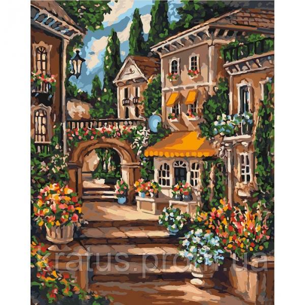 Фото Картины на холсте по номерам, Городской пейзаж KHO 3552 Цветущий переулок Роспись по номерам на холсте (без коробки) 50х40см