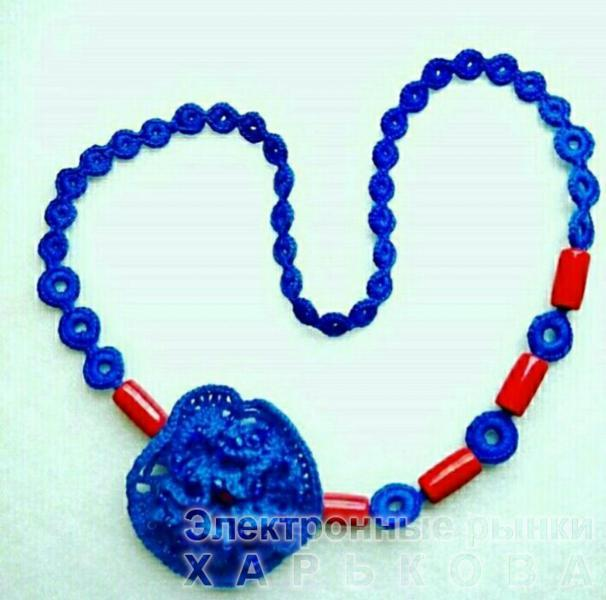 """Колье """"Синий мак"""". Вязание на заказ, вязаный крючок. - Колье, ожерелья, бусы, чокеры на рынке Барабашова"""