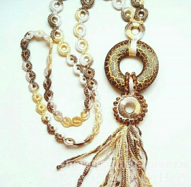 """Колье """"Сахара"""". Вязание на заказ, вязаный крючок. - Колье, ожерелья, бусы, чокеры на рынке Барабашова"""