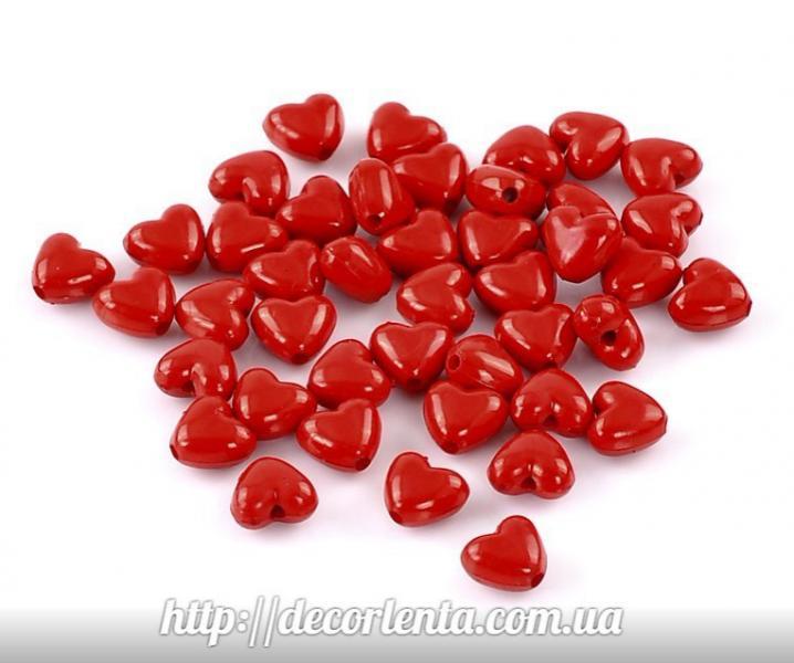 Бусина   красная   в  виде  сердца  11 * 10 мм .