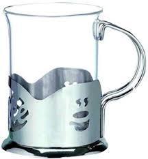 Подстаканник нержавеющий круглый с стеклянным стаканом V 200 мл (шт) 9569