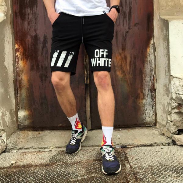 Шорты мужские в стиле Off White Strip черные
