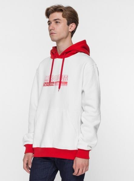 Худи утепленный PUNCH - Endless funeral logo, White