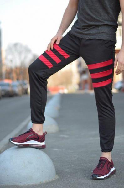 Спортивные штаны LC - Flip черный с красным