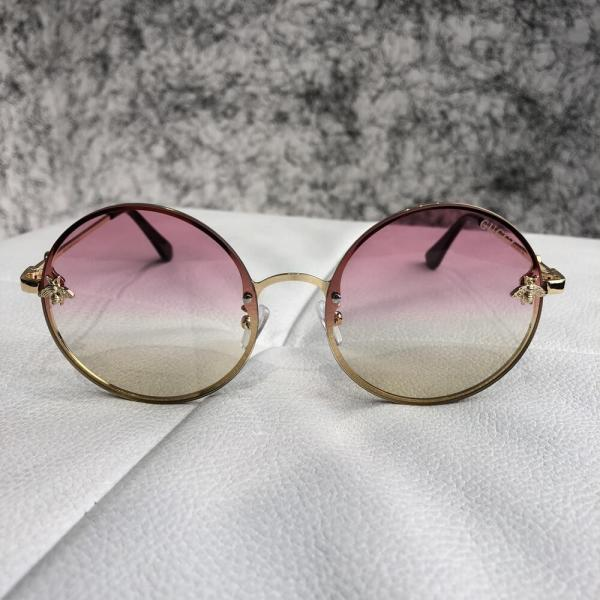 Gucci Sunglasses Circle with Bee Gold/Light Pink