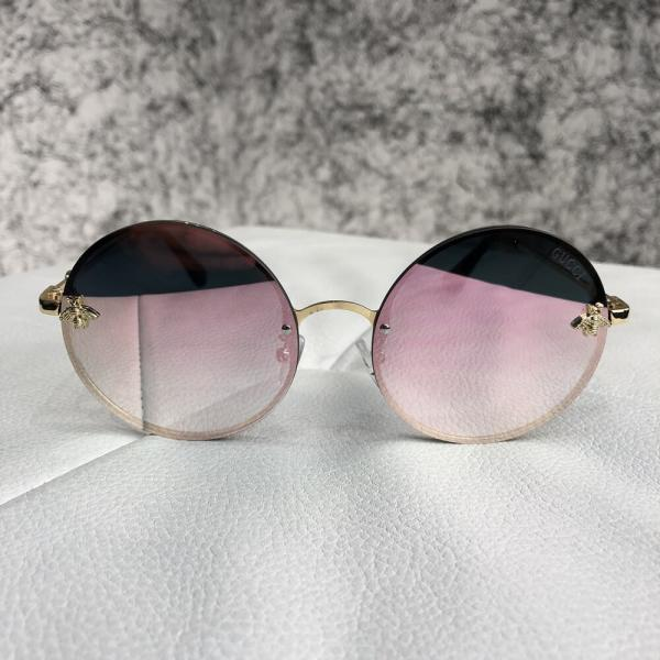 Gucci Sunglasses Circle with Bee Gold/Pink