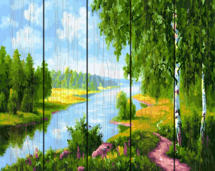 GXT 22577 Березки у реки Картина по номерам на дереве 50х40 см