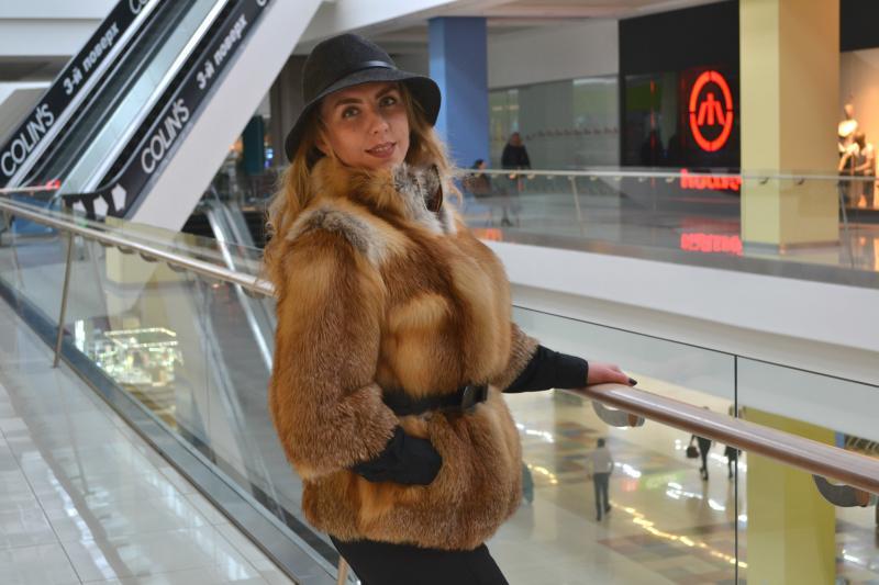 Куртка из лисы с плюшевой нутрией