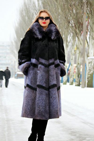 Шуба пальто свингер комбинированный с чернобуркой