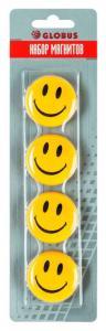 Фото Канцелярские товары (ЦЕНЫ БЕЗ НДС), Доски информационные офисные, для детского творчества, магниты для досок, мелки, стиратели-щетки Набор магнитов СМАЙЛИКИ 40 мм 4 шт блистер