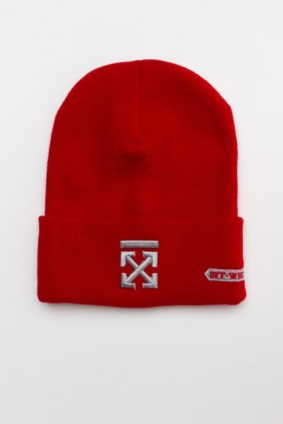Зимняя шапка OFF WHITE CROSS красная