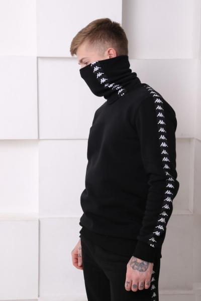 Бафф утеплённый чёрный с чёрно-белыми лампасом Kappa