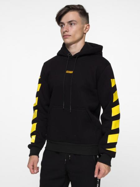Худи утепленный Off White - Stripe and Cross, Black/Yellow