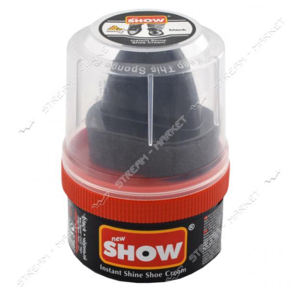 'SHOW' крем-блеск для обуви в банке с губкой 50 мл (чёрный)