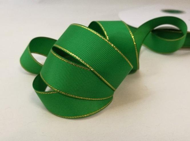 Фото Ленты, Репсовая  лента  с  люрексом. Репсовая  лента  2,5 см.   Зелёная  с  золотым  люрексом.