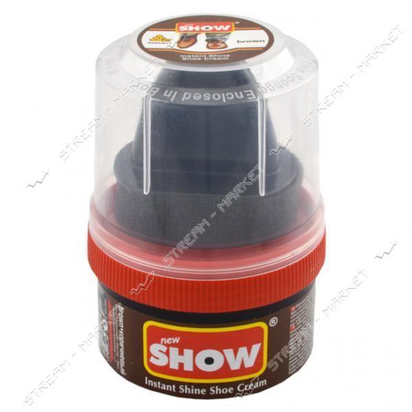 'SHOW' крем-блеск для обуви в банке с губкой 50 мл (коричневый)