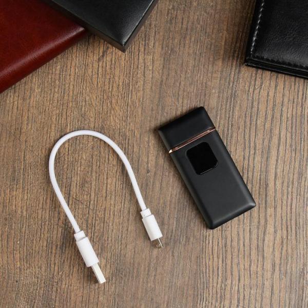 "Зажигалка электронная ""Люкс"", USB, спираль, чёрная, 7х3.5х0.5 см"
