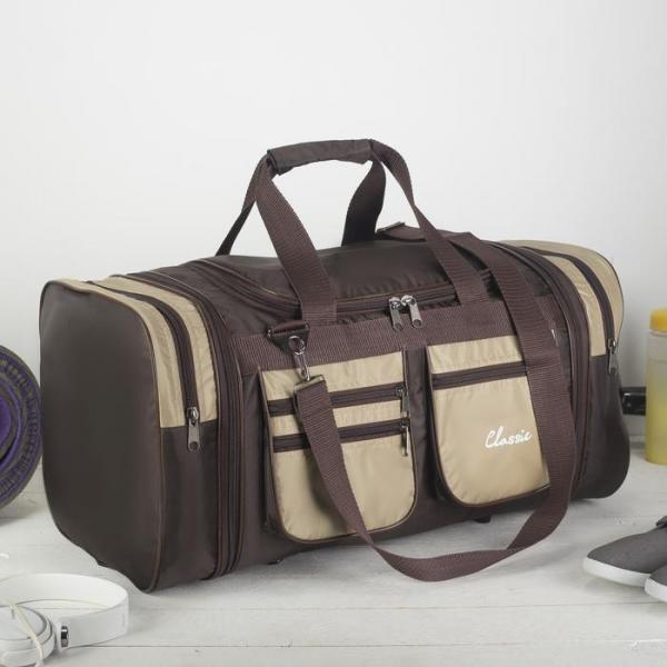 Сумка спортивная, отдел на молнии, 5 наружных карманов, длинный ремень, цвет коричневый/бежевый