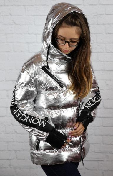 Женская куртка Moncler (реплика) серебряного цвета, Харьков