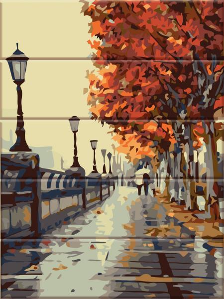 ASW 066 Осенняя набережная Картина по номерам на дереве 30х40 см