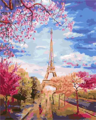 """AS 0137 """"Весна в Париже"""" Картина по номерам на холсте Art Story 40x50см"""
