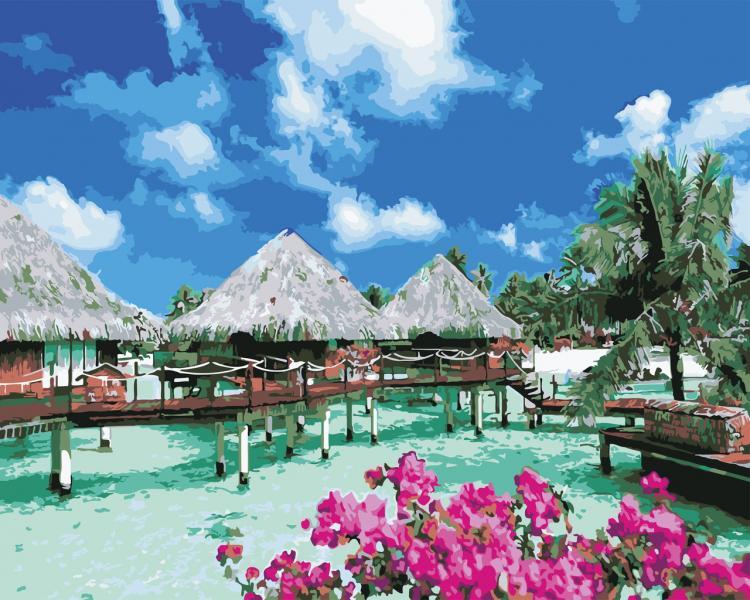 Фото Картины на холсте по номерам, Морской пейзаж AS 0537 Отдых на Мальдивах Картина по номерам на холсте ART STORY 40x50см