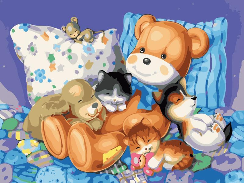 Фото Картины на холсте по номерам, Картины-раскраски по номерам (детские) AS 0619 Сладкий сон Картина по номерам на холсте Art Story без коробки 40x30см