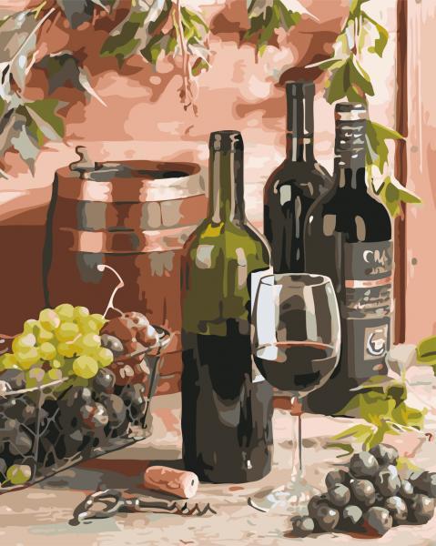 Фото Картины на холсте по номерам, Букеты, Цветы, Натюрморты AS 0643 Вино для гурмана Картина по номерам на холсте Art Story 40x50см