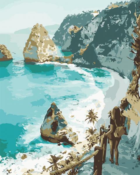Фото Картины на холсте по номерам, Морской пейзаж AS 0645 Мечты об океане Картина по номерам на холсте Art Story 40x50см