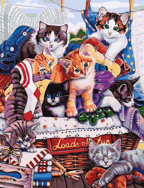 Фото Картины на холсте по номерам, Картины по номерам 50х65см AS 0614 Котята Картина по номерам на холсте ART STORY 50x65см