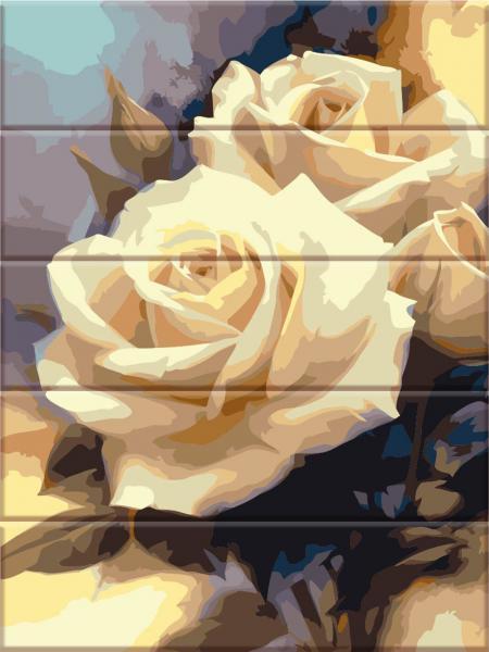 Фото  ASW 043 Пастельные розы Картина по номерам на дереве 30х40 см
